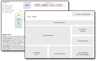 Samples of Planning Documents: site map and wireframe.